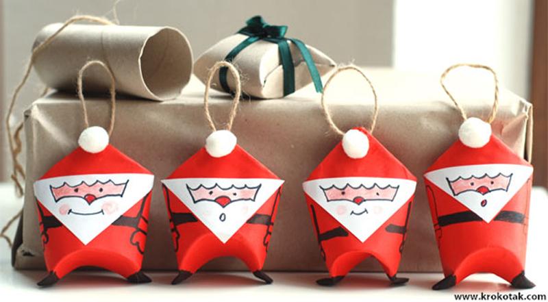 DIY Santa Toilet Paper Roll Ornaments