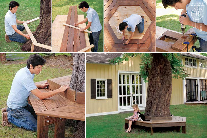 How to make bench around the tree diy crafts handimania for Benches that go around trees