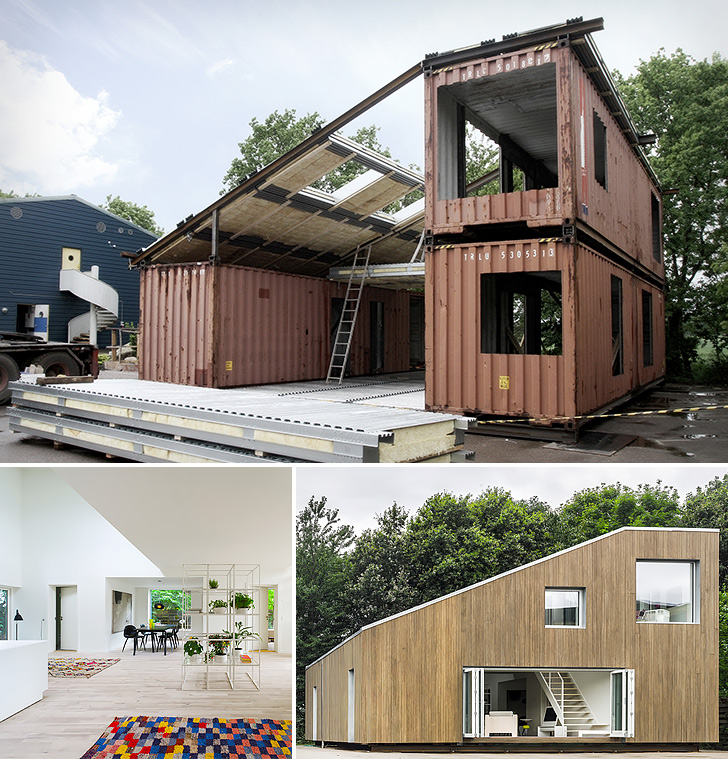 Upcycled shipping container house craftspiration for Cheapest way to build a home