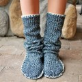 upcycled sweater slipper boots 02