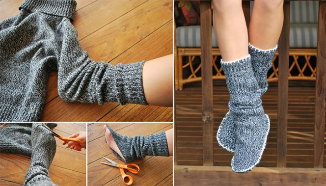 upcycled sweater slipper boots collage