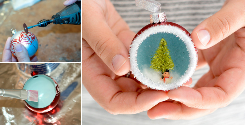 how to make vintage inspired diorama ornaments