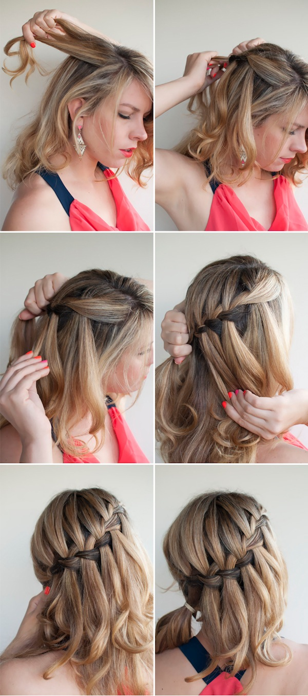 Waterfall Braided Bun Collage