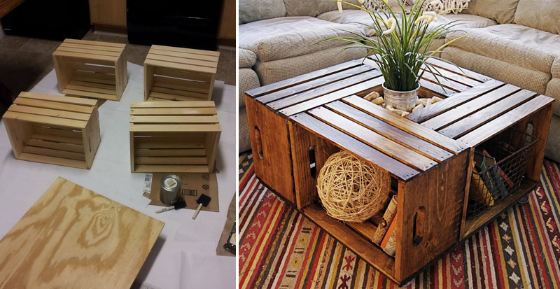 How to make wine crate coffee table diy crafts for How to make a coffee table out of crates